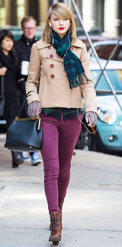 Wear a tan coat and purple skinny jeans to achieve a chic look. For the maximum chicness opt for a pair of brown leather ankle boots.  Shop this look for $178:  http://lookastic.com/women/looks/scarf-coat-dress-shirt-gloves-satchel-bag-skinny-jeans-ankle-boots/5277  — Navy and Green Plaid Scarf  — Tan Coat  — Navy and Green Plaid Dress Shirt  — Grey Wool Gloves  — Navy Leather Satchel Bag  — Purple Skinny Jeans  — Brown Leather Ankle Boots