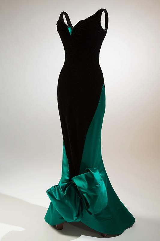 Charles Jame c1955, evening dress, black velvet, green satin. Photo Eileen Costa  © 2012 |  The Museum at FIT (OK- Not my favorite gown of his. But interesting to see it 'fit'.)
