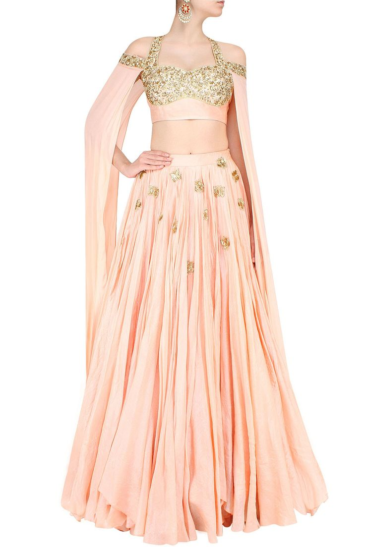 Pastel pink and gold floral embroidered floor length sleeves lehenga set…