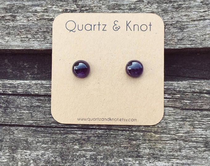 Amethyst Earrings, Purple Studs, Purple Earrings, Amethyst Studs, Titanium Earrings, Birthstone Earrings, February Birthstone