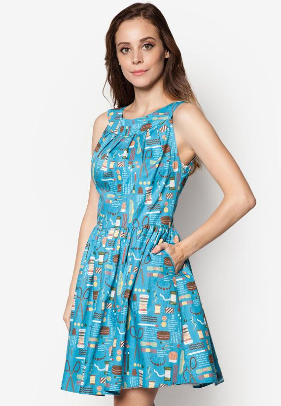 Blue and green summer dress