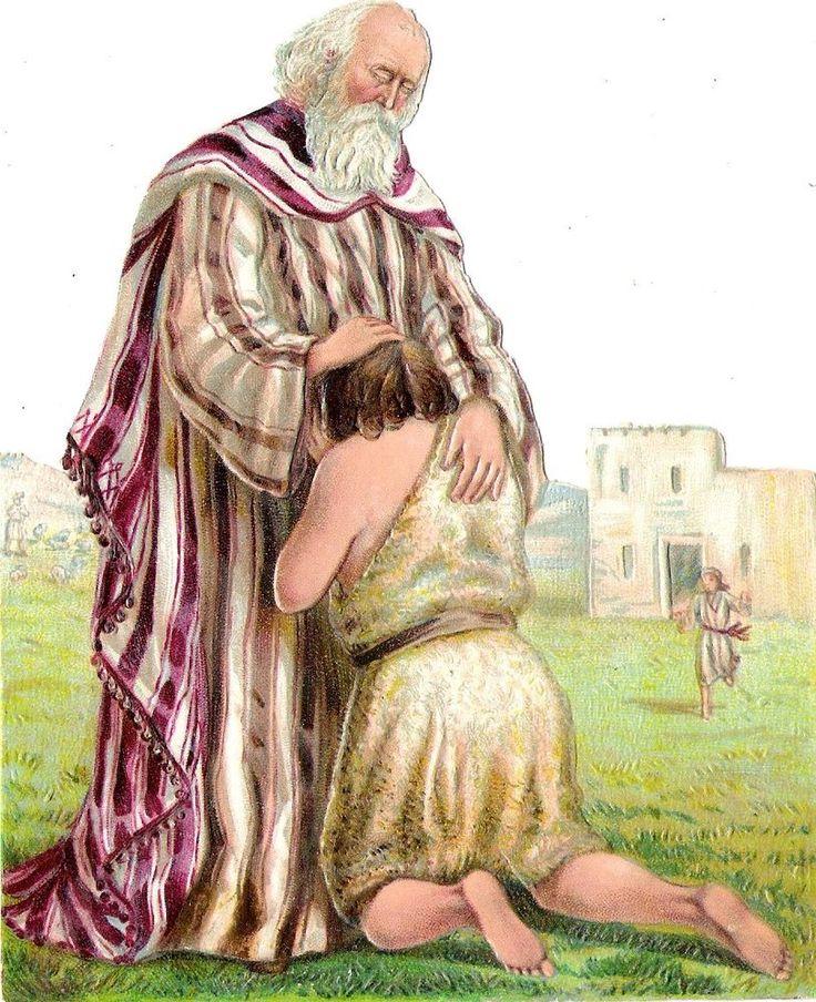 Oblaten Glanzbild scrap die cut chromo Bibel Szene 14,5 cm verlorener Sohn son