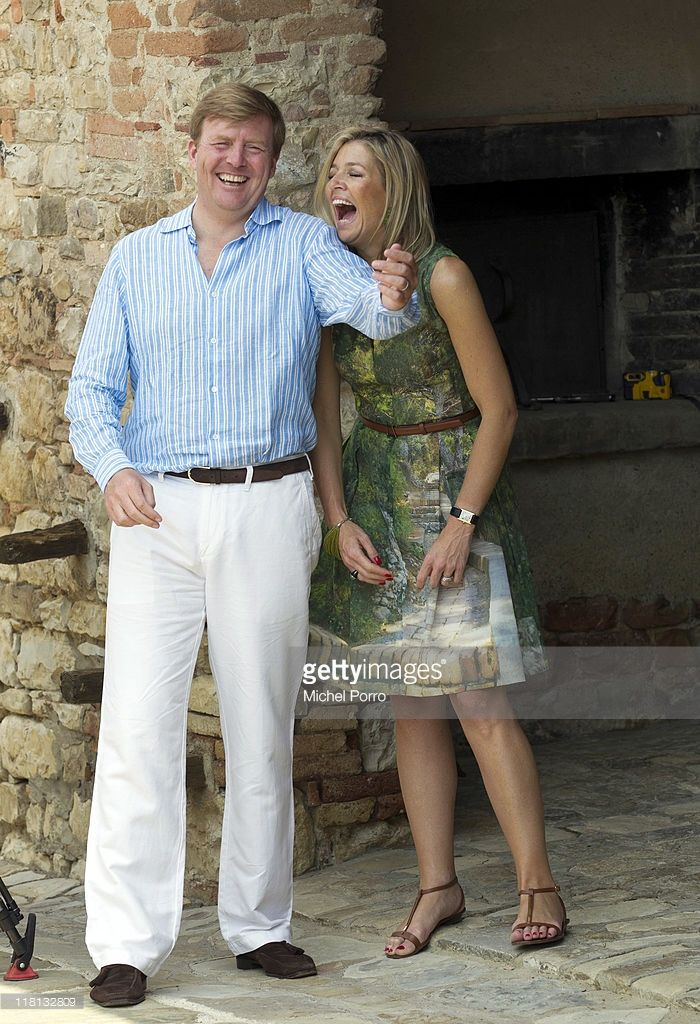 Never change, Maxima.  Crown Prince Willem-Alexander and Princess Maxima of the Netherlands laugh during a photo session on July 4, 2011 in Tavernelle, Italy.