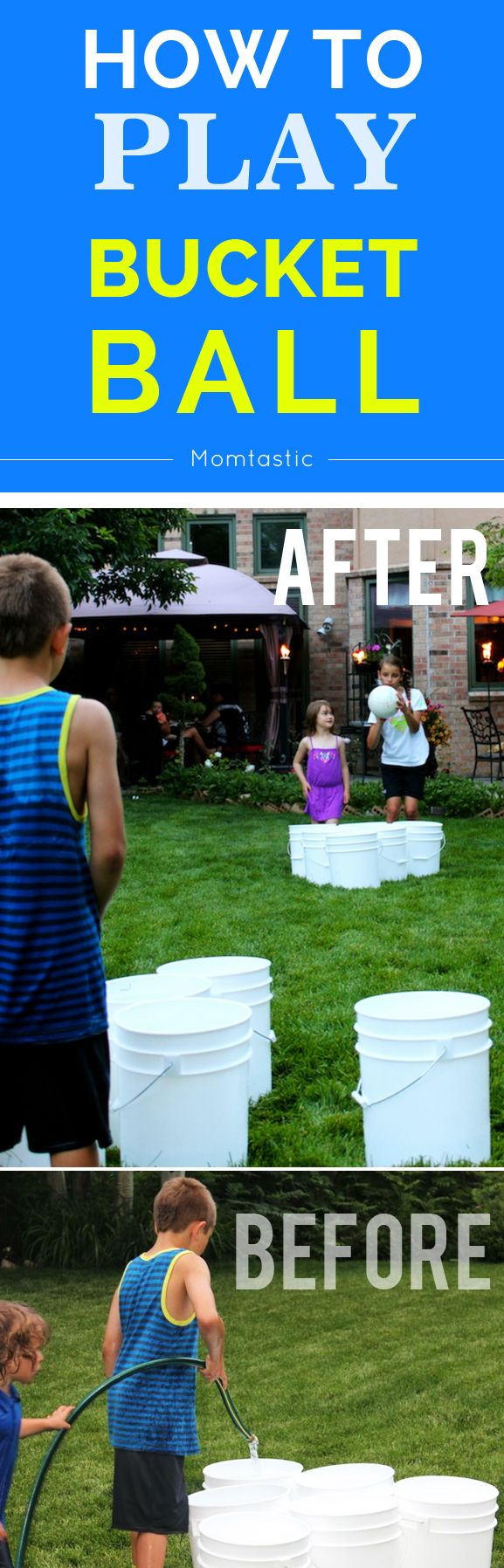 A kid-friendly version of beer pong (non-alcoholic): how to play bucket ball