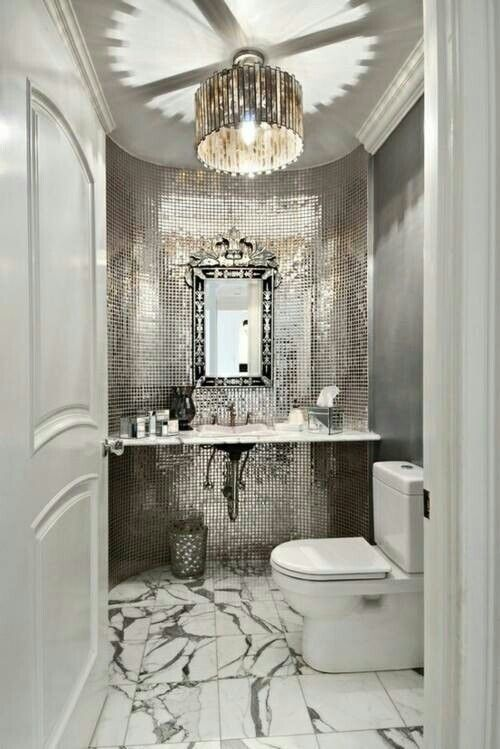 Glamour Bathroom... Please And Thank You. Mirrored Tile Wall, Pendant Lamp