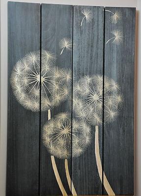 Quot Dandelion Seeds Quot 4 Panel Wall Art Quot Black Wash Quot Hand