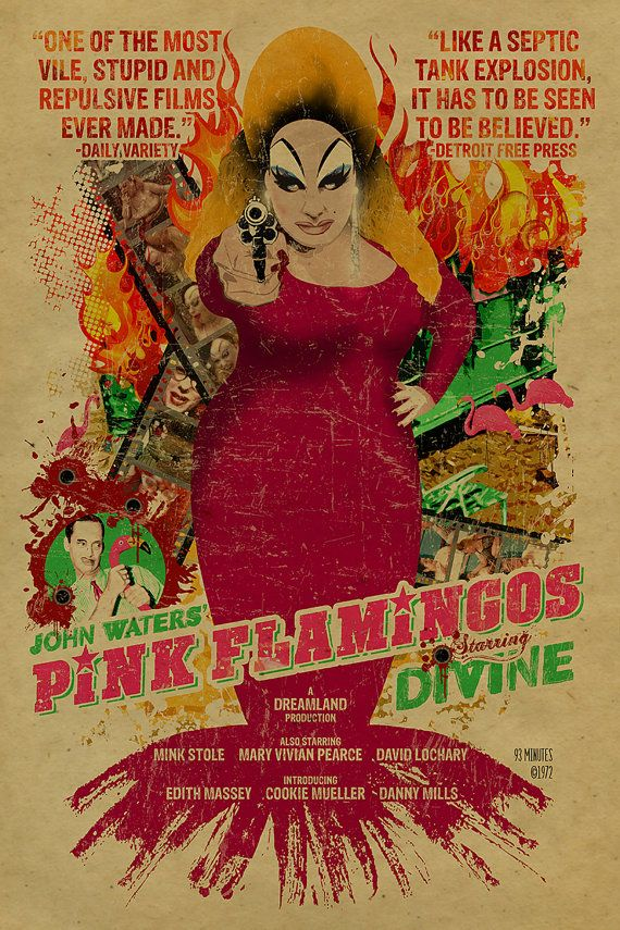 John Waters Pink Flamingos poster. So Divine! 12x18. Kraft paper. Cult Movie. Campy. Art. Print. Gay. Drag Queen. RuPaul.