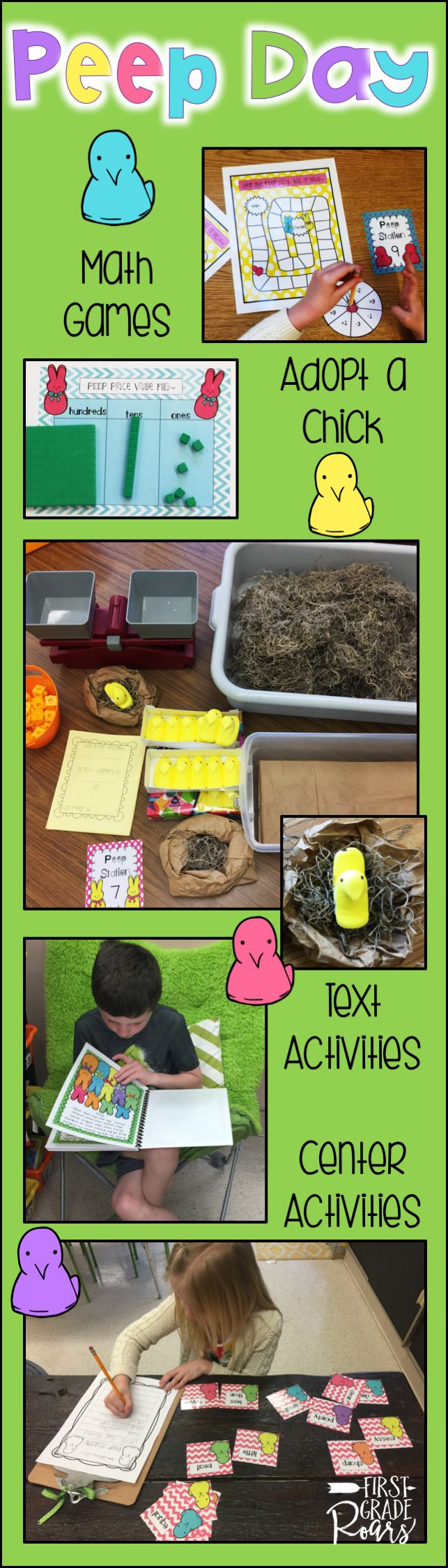 """This fun day will have your students engaged right before spring break or any time in the Spring.  Children will complete word work center activities for synonyms, antonyms, compound words, """"ee"""", writing, syllables and more.  Adopt a peep and make a nest for your peep.  Math games included too.  An original Peep Story in color or b/w with comprehension activities.  Center cards included for easy set up."""