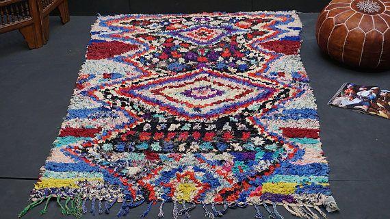 Fabulous Moroccan boucherouite rug 4x6 Rug Vintage Moroccan