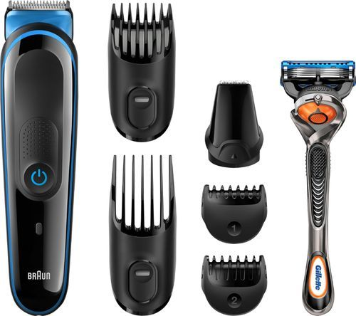 Braun - Multigroom 3045 Trimmer with 4 Guide Combs - Black/Blue