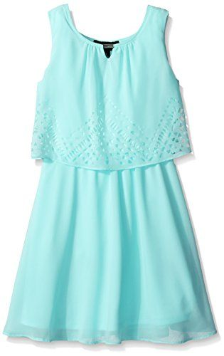 Amy Byer Big Girls' Chiffon Dress with Laser Cut Popover, Mint, 8