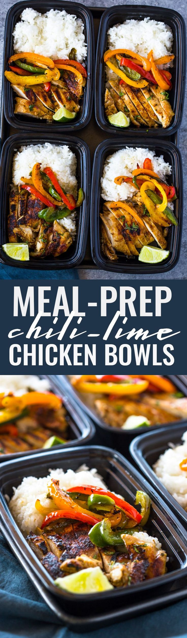 Chili Lime Chicken and Rice Meal Prep Bowls | Gimme Delicious