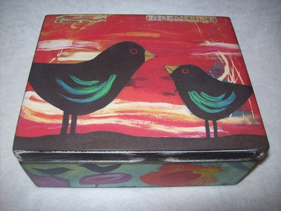 Birds Wooden Memory Box by EspeciallyMade on Etsy, $22.00