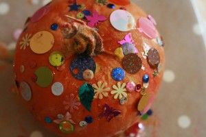 Toddler-friendly pumpkin decorating