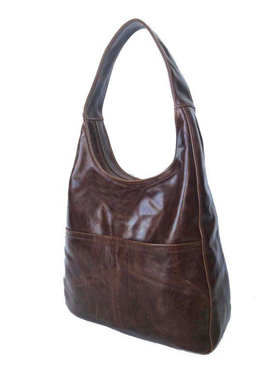 Distressed Leather Hobo Bag Woman