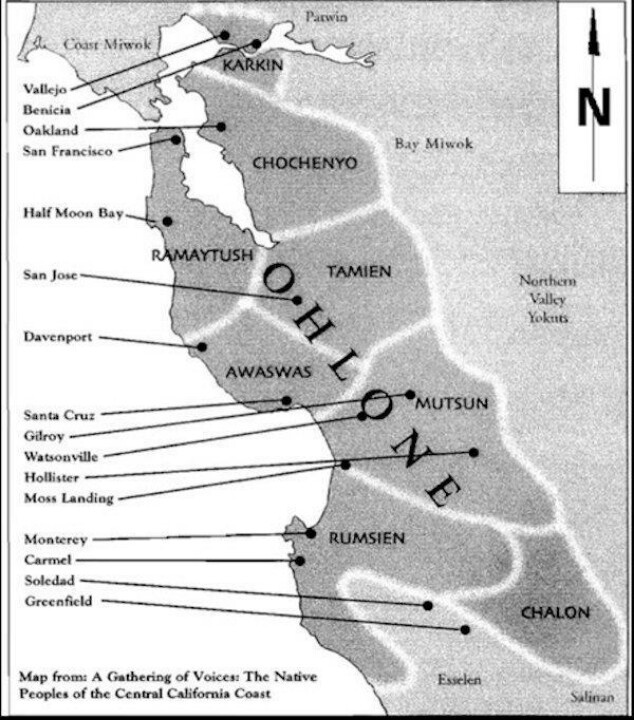 Northern california indian s map on