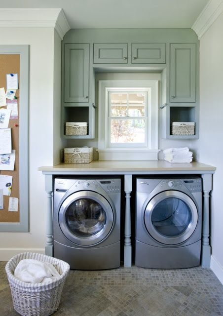 Laundry/mud Rooms   Blue Framed Cork Bulletin Board Silver Front Load Washer  Dryer Blue Green Built In Cabinets Nook Large Stone Tiled Laundry Cupboards  ...
