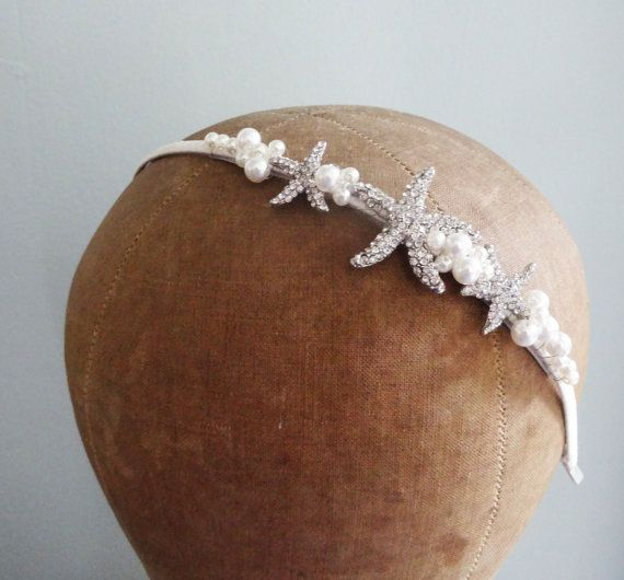 Beach Themed Wedding  Beautiful seaside themed headband with rhinestone starfish and pearls on a satin ribbon wrapped silver plated headband.