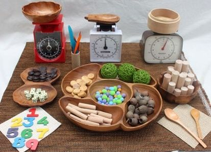 Here's a post on inquiry based learning in Kindergarten that includes a number of provocations for math exploration and play.