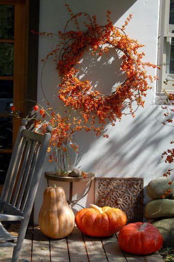 All Hallow's Eve: Idea, Fall Decor, Seasons, Pumpkin, Fall Wreaths, Fall Porches, Bittersweet Wreaths, Autumn Wreaths, Front Porches