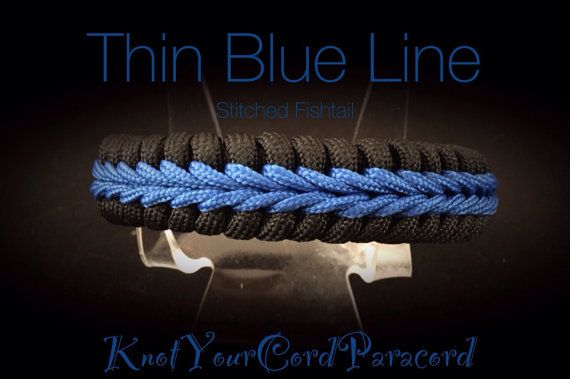 Thin Blue Line Paracord Survival Bracelet, Stitched Fishtail. Custom lengths! Made to order! Contact the shop.  Thin Red Line (not pictured) is also available just request a custom order. The Thin Blue Line series is represented by the colors designated to represent emergency services. The Thin Blue Line on Black represents Law Enforcement, Red represents Firefighters, and light blue/royal blue and white represents Medical. Great for indicating youre an off duty officer, firefighter, or in…
