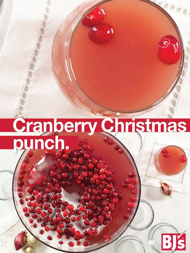 Christmas Punch Recipe - Make a frozen cranberry ring for your holiday punch bowl. Easy cranberry juice idea for parties.http://stocked.bjs.com/food/cranberry-christmas-punch