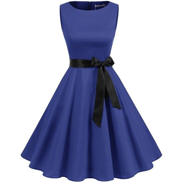 Gardenwed Women's Vintage 1950s Rockabilly Audery Swing Dress... ($23) ❤ liked on Polyvore featuring dresses, retro prom dresses, blue cocktail dress, vintage cocktail dresses, prom dresses and blue swing dress