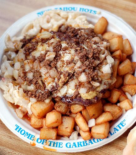 Garbage Plate.. Had my first one at the Fair, CANNOT stop thinking about it.