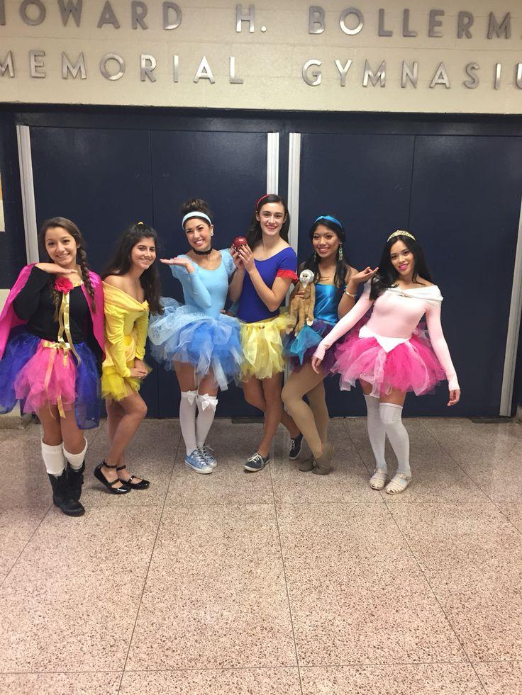 Homemade Disney Princess costumes! L to R: Anna, Belle, Cinderella, Snow White, Jasmine, Aurora