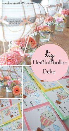 DIY Heißluftballon Deko für Taufe, Geburtstag, Party und jede andere Gelegenheit