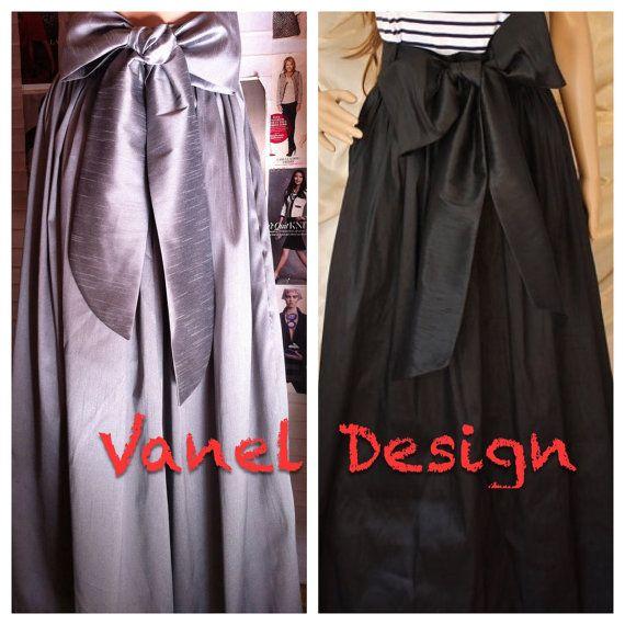 Maxi Skirt with Sash Romantic Black Long Skirt by VanelDesign, $65.00