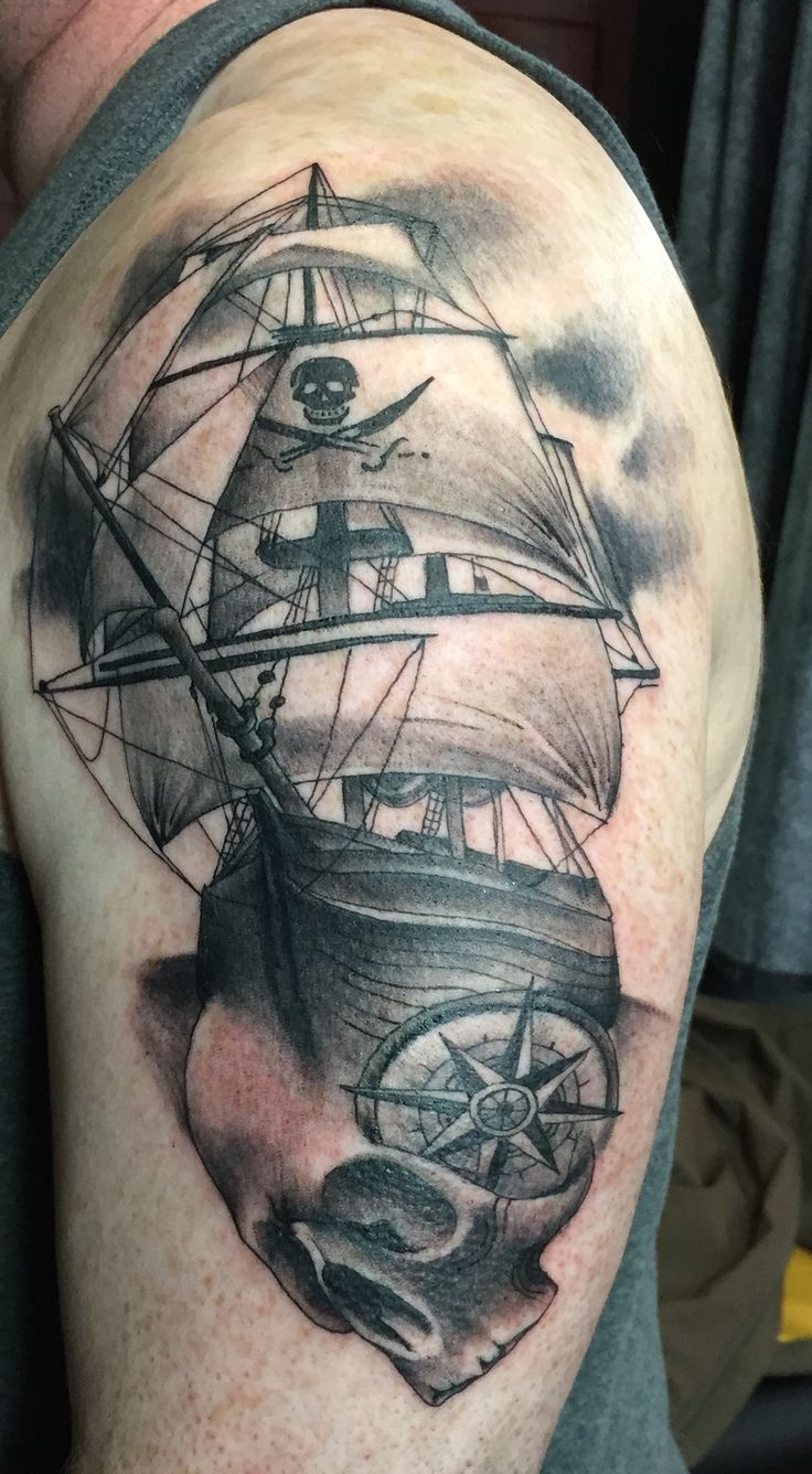 My pirate ship tattoo! Love the compass.  Going to add more for a pirate tattoo sleeve.