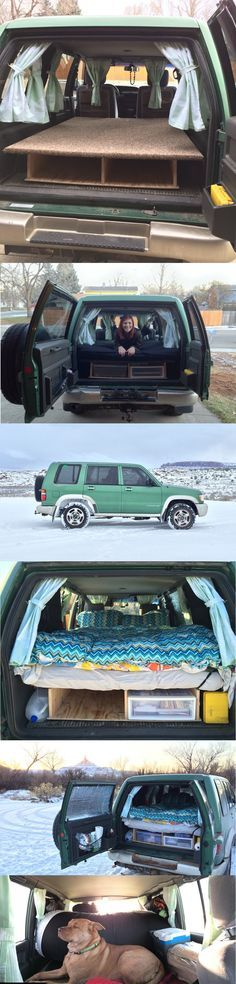 Camper Conversion Isuzu Trooper bed and storage. How to convert an SUV into a camper.