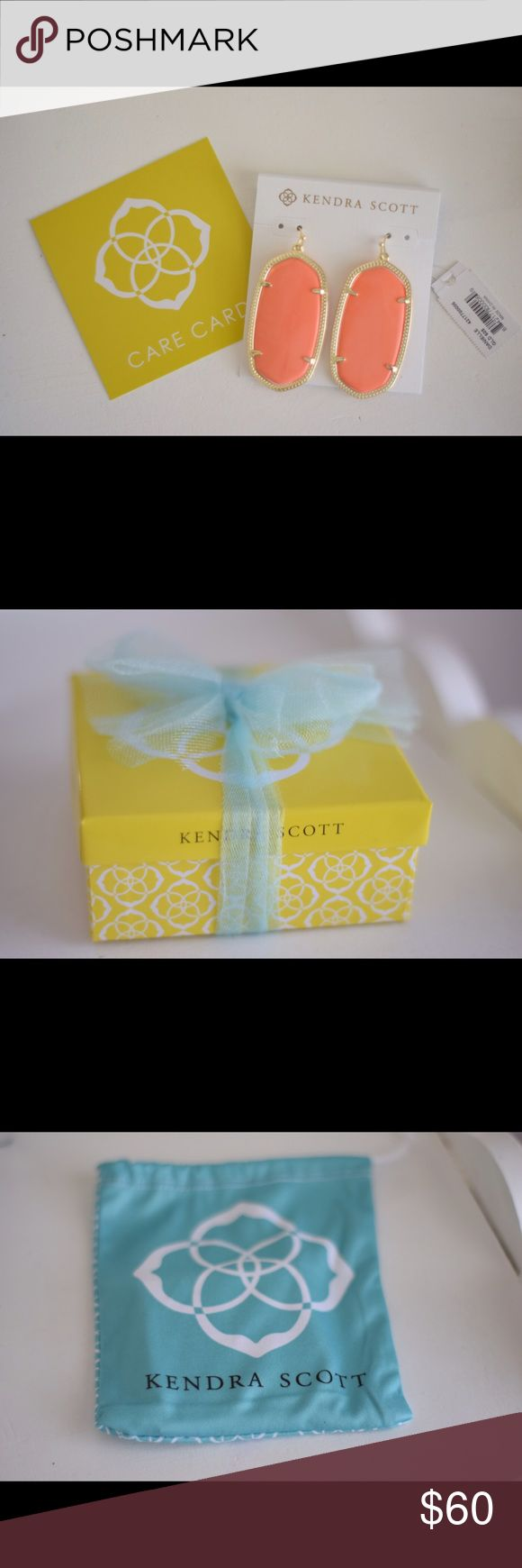Kendra Scott Danielle Earrings- Coral/Gold Brand new Kendra Scott Danielle Earrings in Coral with Gold finishes- never worn with tags! Includes original gift packaging! Kendra Scott Jewelry Earrings