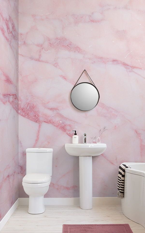 Pin By Rebecca Waldron On Home Decor In 2020 Pink Marble Wallpaper Pink Bathroom Tiles Bathroom Wallpaper Modern