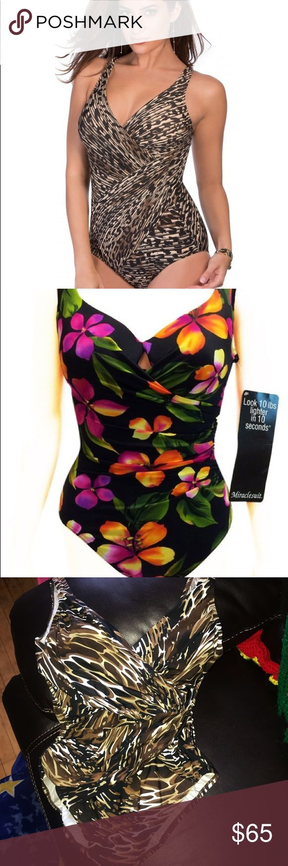 Sexy & Slimming Animal Print Swimsuit 👙🔆 New without tags; fantastic condition, designed to flatter midsection, with cross-cross feature. Offers welcome 🤗 Kirkland by Miraclesuit. Miraclesuit Swim One Pieces