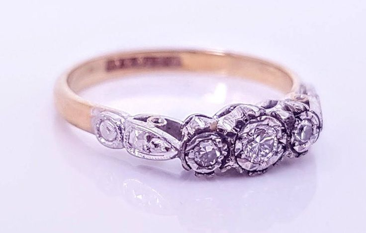 Edwardian Vintage Ladies Diamond Trilogy Engagement Ring in Platinum and 18 ct Yellow Gold FREE POSTAGE by GloryBeVintageWares on Etsy