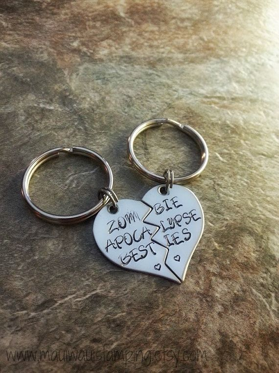 Best Friend/Couples Hand Stamped Keychain Set  by MauiWauiStamping, $18.00