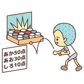 ピンポン球を紙コップに投げ入れるゲームです。ワンバン玉入れ、グラスピンポン、ピンポンシュート。English page : Ping-Pong Cup in Game事前準備と道具の作り方ダンボール箱に色の違うコップを入れて床に置きます。コ