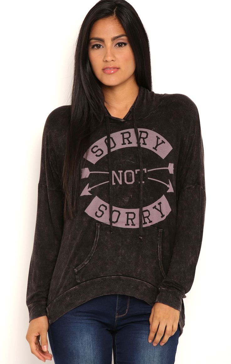 Deb Shops Long Sleeve Vintage Hoodie with Sorry Not Sorry Screen $24.00