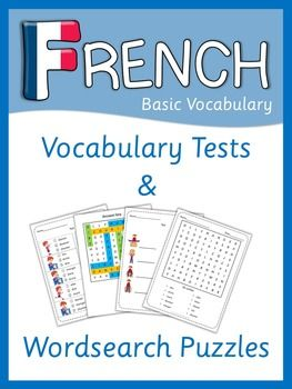 French Beginner Vocabulary Tests and Wordsearch Puzzles