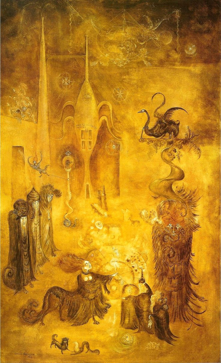 by Mexican Surrealist writer, sculptor, and painter Leonora Carrington (1917 - 2011), b. UK.The Chrysopeia of Mary the Jewess, 1964