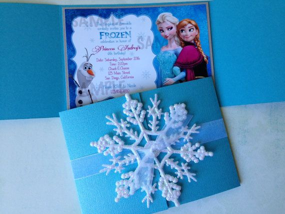 This listing is for one dozen (12) handmade Frozen invitations with your personalized party details. I will also include a low resolution file