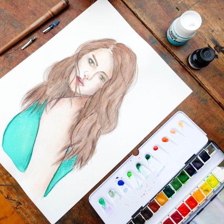 Aquarela Retrato Kristen Stewart. Watercolor portrait Kristen Stewart.