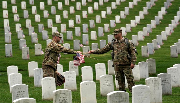 Soldiers from the 3rd U.S. Infantry Regiment (Old Guard) take part in 'Flags-in', where a flag is placed at each of the 284,000 headstones at Arlington National Cemetery ahead of Memorial Day, in Arlington, Virginia, U.S., May 25, 2017. REUTERS/Kevin Lamarque via @AOL_Lifestyle Read more: https://www.aol.com/article/news/2017/05/25/us-soldiers-plant-thousands-of-flags-at-cemetery-in-memorial-day/22110184/?a_dgi=aolshare_pinterest#fullscreen