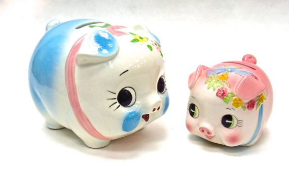 Vintage Japanese Mommy and Baby Pig Banks by MidniteGalaxyVintage #kitsch #kitschy #retro #sixties #midcentury #piggybank #japanese #madeinjapan #1960s