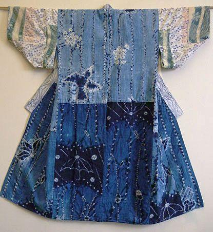 beautiful shibori juban: Kimono, Contrasting Textiles, Hands, Shibori Juban, Blue, Textile Art Dress, Botanical Indigo, Spun Cotton