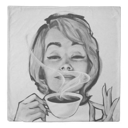 Queen size duvet cover Lady sipping coffee - black and white gifts unique special b&w style