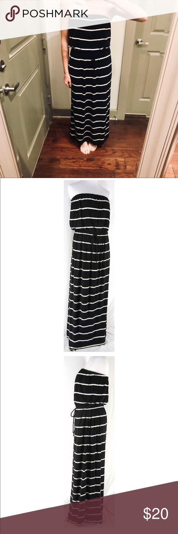 Black and white striped maxi dress from J. Crew Casual maxi dress with drawstring waist and elastic at the top. Includes pockets and at 5'5, this hits me at a perfect length to wear with sandals J. Crew Dresses Maxi