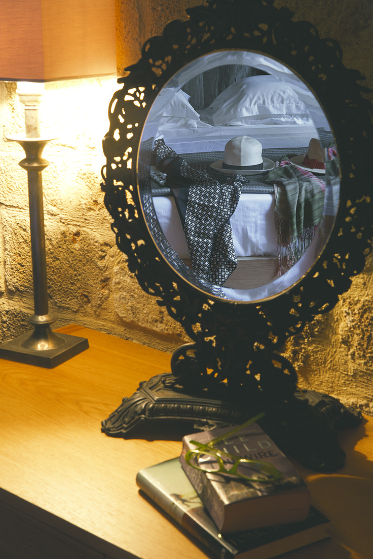 """EXCLUSIVE SUITES BOUTIQUE HOTEL. MEDIEVAL TOWN, RHODES, GREECE. - Mirror frame made of cast iron ca 1920. """"Orhan"""" suite. - kokkiniporta.com"""